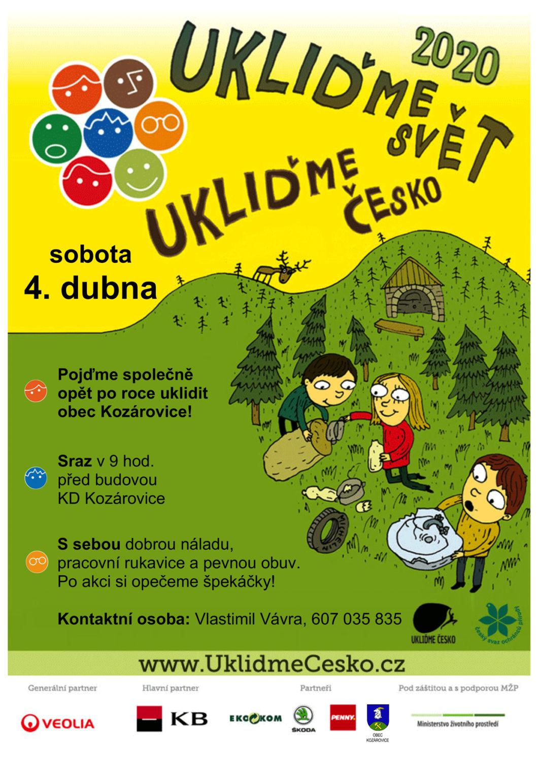 ZRUŠENO – Ukliďme Česko v Kozárovicích 2.ročník – 4. 4. 2020